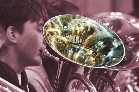 Close up of young brass players