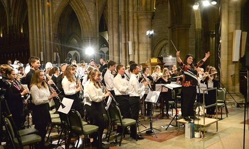 Photo of the orchestra performing in Truro Cathedral