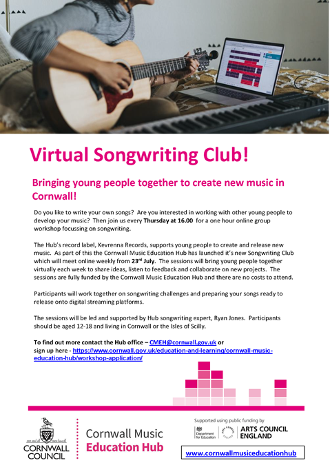 Poster for the CMEH Virtual Songwriting Club
