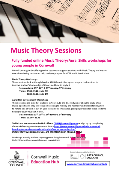 Flyer for music theory workshops
