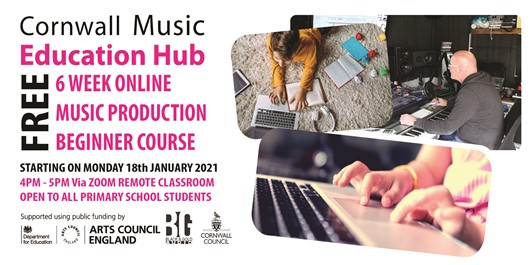 Flyer for Music Production course for beginners - starting on 18th January